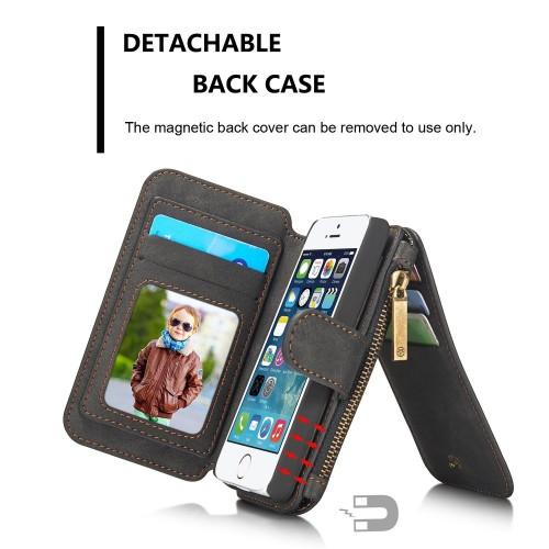 Detachable Multi-slot Retro Split Leather Wallet Zipper Case For iPhone 4/4s