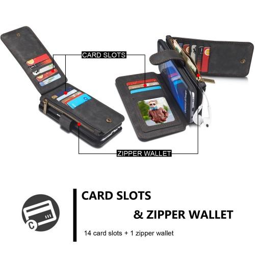 Detachable Multi-slot Retro Split Leather Wallet Zipper Case For Samsung Galaxy S4