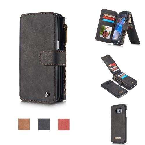 Detachable Multi-slot Retro Split Leather Wallet Zipper Case For Samsung Galaxy S7