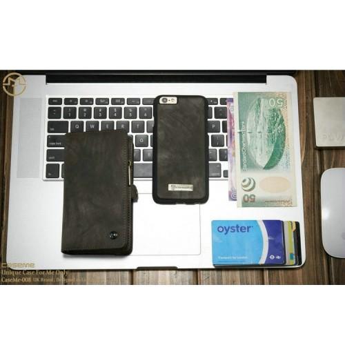 Detachable Multi-slot Retro Split Leather Wallet Zipper Case For iPhone 6